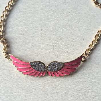 Neon Pink Enameled Wing Necklace Rhinestone Wing Charm Gold Tone Chain Necklace Etsy Gift Handmade Fashion Necklace Gift Under 25 Dollars