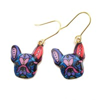 Abstract Colorful French Bulldog Puppy Shaped Dangle Drop Earrings | Animal Jewelry