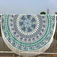Large Cotton Blend Printed Round Beach Towel ~Tassel Circle Beach Towel Serviette Tapestry Wall Hanging J
