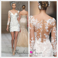 Short wedding dress 2016sexy V-neck beaded appliques illusion long sleeve lace bride dress ivory VESTIDO DE NOIVA curto M6577