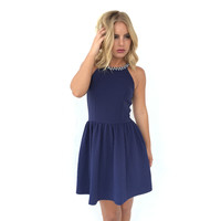 Sugarland Texture Dress In Navy Blue