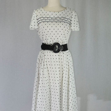 Vintage 80s Polka-dot Dress Full Skirt Black and White