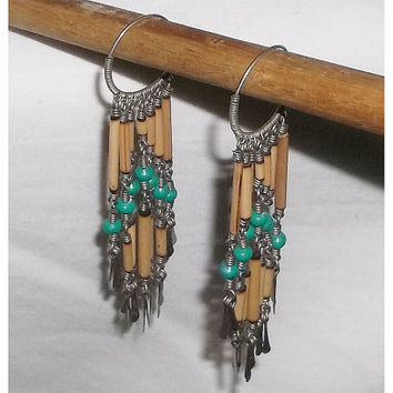 Vintage Earrings, India Hippie Style, Shoulder Dusters