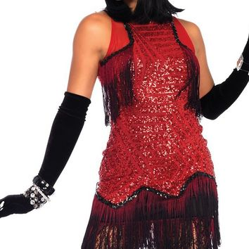 Gatsby Goddess Red Sequin Geometric Pattern Fringe Sleeveless Velvet Back Bodycon Mini Dress Halloween Costume