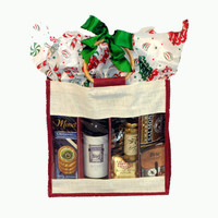 Christmas wine gift basket|holiday red wine gift basket|christmas gift basket with red wine