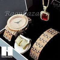 HIP HOP ICED OUT MEEK MILL LAB DIAMOND WATCH RUBY NECKLACE BRACELET EARRING S002