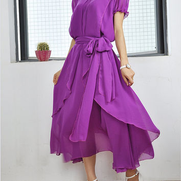 Women's Maxi Dresses Plus Size Chiffon Blouse Purple Loose Day Dress