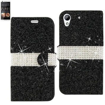BLING Diamond Flip Case HTC Desire 626 BLACK