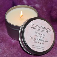 Ho 'Oponopono Candle ~ Hawaiian Forgiveness Prayer ~ I Love You, I'm Sorry, Please Forgive Me, Thank You