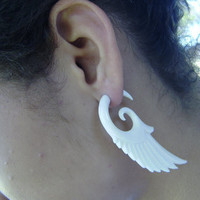 Split Gauge Earrings White Bone Fake Gauge Earrings Fancy Craved Feather Wing Cheater earrings