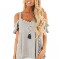 Heather Grey V Neck Cold Shoulder Top with Ruffle Sleeves
