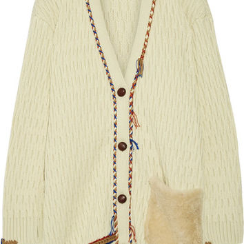 Tory Burch - Quincy shearling-trimmed cable-knit wool cardigan