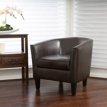 Gelston Brown Leather Club Chair