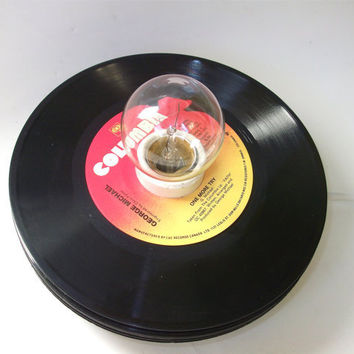 Stack of Vinyl Records Lamp Vintage Records Table by retrograndma