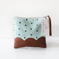 """Linen leather pouch 7.5"""" Scallop Brown leather Polka dot"""