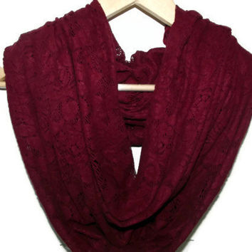 Claret Red, Dark Red Lace infinity Scarf , Circle Scarf,  Endless Scarf