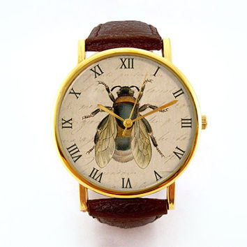 Vintage Honey Bee Watch, Antique Book Plate, Gardening Watch, Unisex Watch, Ladies Watch, Men's Watch, Analog, Gift Idea, Gift for Men