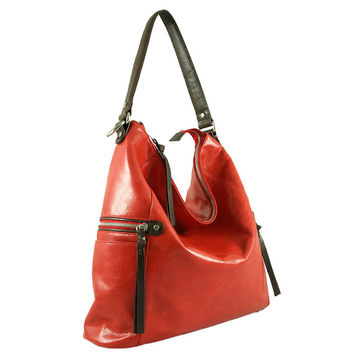 Melanie red leather shoulder bag