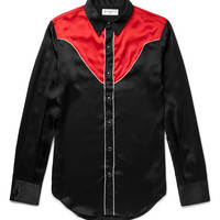 Saint Laurent - Slim-Fit Contrast-Panelled Silk Western Shirt