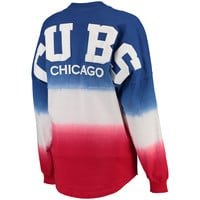 Chicago Cubs Women's Oversized Long Sleeve Ombre Spirit Jersey T-Shirt - Royal