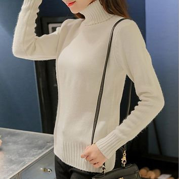 Winter Tops Solid Cashmere Turtleneck Sweater Women 2018 Long Sleeved Casual Chic Style Knitting Pullovers Oversized Pull Femme
