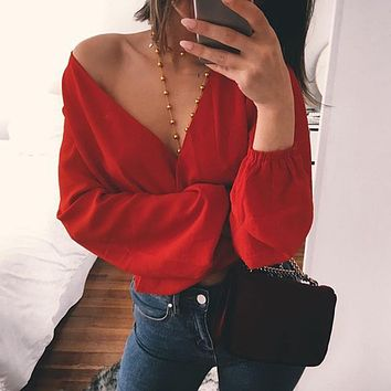 Summer Women Deep V-Neck Back Bow Chiffon Blouse Casual Lantern Sleeves Back hollow Tops Beach shirts