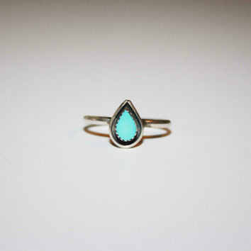 Tear Shaped Turquoise Sterling Silver Ring | Vintage Ring Size 6- free ship US