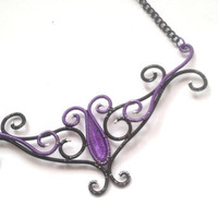 Purple And Black Freeform Pendant, Coloured Wire Wrapped Artistic Necklace, Handmade Unique Gift Idea, Wire Wrapped Jewelry, OOAK Choker