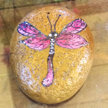 It GLOWS- Dragonfly, hand painted, sea rock, gift, paper weight, stone