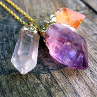 Triple Crystal Necklace. Gold Dipped Amethyst Citrine & Quartz
