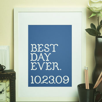 Custom Home Decor- BEST DAY EVER with Wedding Date Wall Art Personalized Print