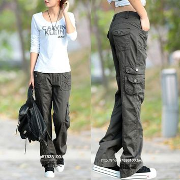 2017 Fashion Style Full Pants Women Casual Jogger Cargo Pants Woman Trousers Free Shipping