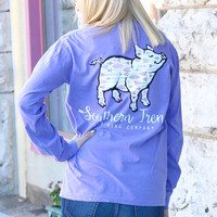 Arrow Print Proud Pig Long Sleeve Tee {Violet}