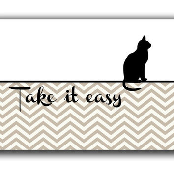Typographic print - cat illustration poster - motivational print - black cat print - Modern art - Digital art print  - Tack it easy