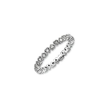 2.25mm Sterling Silver Stackable 1/4 Ctw HI/I3 Diamond Heart Band