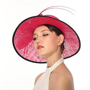 Kentucky Derby Carriage Tea Party Wedding Wide Brim Woman's Royal Ascot Hat in Solid Sinamay Hat Hot Pink with Black