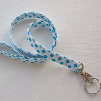 Lanyard ID Badge Holder - NEW THINNER design - Blue Polka Dots on White - Lobster clasp and key ring