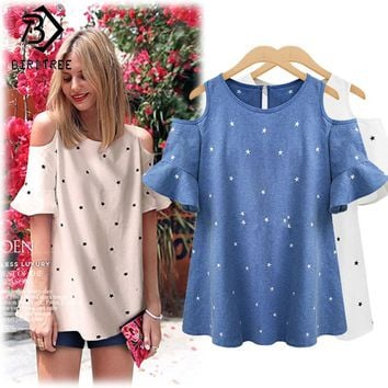 Plus Size 4XL Tees Ladies Star Printed Hollow Out Ruffles T-shirts Women Cute Cold Shoulder Female Butterfly Sleeve Tops T81237A