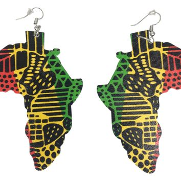 Rasta Printed Africa Earrings | Africa shaped earrings | African earrings | Natural hair earrings | Afrocentric earrings | jewelry | accessories