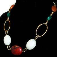 """Red Agate Bead Necklace Green White Quartz Stones Gold Metal Links 16"""" Vintage"""