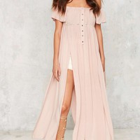 Cut About Us Maxi Top - Blush