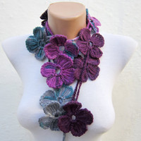 Handmade crochet Lariat Scarf grey purple Mulberry  Flower Lariat Scarf Colorful Variegated Long Necklace Winter Fashion