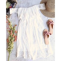reverse - downtown abby - off the shoulder embroidered midi lace dress - white