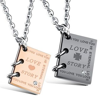 """Modyle Romantic """"Love Story""""  Book Pendant Couple Necklace Black Gold-Color Stainless Steel Wedding Necklace"""