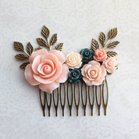 Pink Rose Hair Comb Bridal Hair Comb Navy Blue Floral Hair Piece Country Chic Bridal Accessories Romantic Wedding Branch Decorative Comb