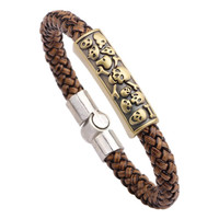 New Skull Woven Genuine Leather Bracelets For Men Magnetic Rock Punk Bracelet & Bangle Fashion Fine Jewelry 2015