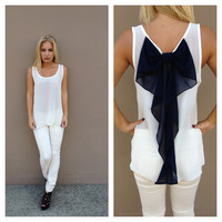 Navy Bow Back Chiffon Tank