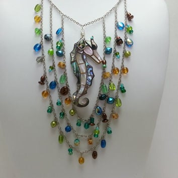Multicolored Glass Bead Chain Necklace with Abalone Seahorse Pendant Necklace and Matching Earrings - Multistrand, Nautical, Beach, Vacation