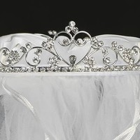First Communion Tiara with Heart and Rhinestone Accents with Veil  T-427