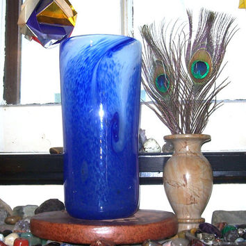 Blown Glass Vase, Cobalt Blue with White Confetti, Flower Tall Column Vase Art Glass, by Taylor Kelly